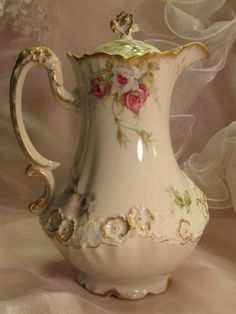 Elegant French Victorian Roses CHOCOLATE COCOA POT Antique Limoges France Chocoliatiere HAND DECORATED TEA ROSES Fine Vintage Heirloom China Painting Art Studio Décalcomania Floral Design Rare Pot w Figural Raised Relief Gracious Shape Handle ca 1900