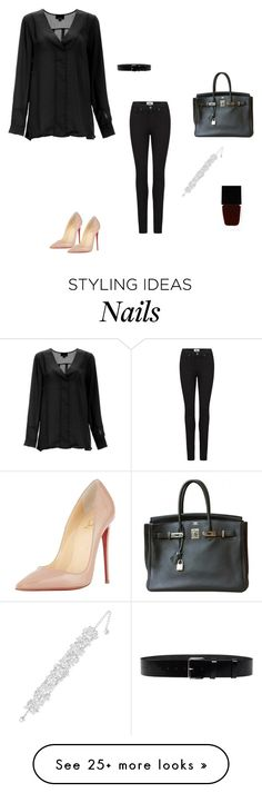 """""""Без названия #1551"""" by newyorkstylrer on Polyvore featuring Paige Denim, Surface To Air, Christian Louboutin, Hermès, Swarovski and Witchery"""