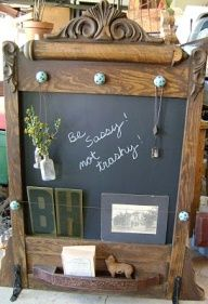 antique dresser mirror turned chalkboard organizer  Stacy Ritter via Ann Marie Anway onto vintage crafts/apparel