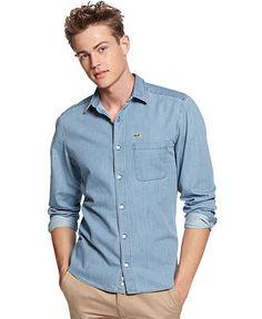 Lacoste L!VE Shirt, Slim Fit Long Sleeve Denim Shirt - Mens Casual Shirts - Macy's $74.99