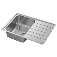 """Check out our VATTUDALEN Single bowl top mount sink, stainless steel, 27 """". Read about the terms in the Limited Warranty brochure. Fitted Cabinets, Base Cabinets, Stainless Steel Sinks, Black Stainless Steel, Freestanding Cooker, Steel Seal, Inset Sink, Sink Strainer, Ikea Family"""