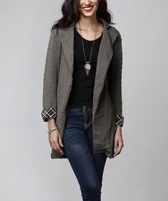 Look at this #zulilyfind! Charcoal Cable-Knit Plaid Accent Sweater Cardigan #zulilyfinds