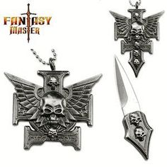 """Gothic Skull Cross Chopper & Wings Necklace Knife by M-Tech. $15.74. -1.5"""" Blade  -Stainless Steel Blade -Necklace Gothic Cross Skull Design"""