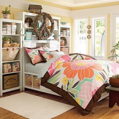 Teenage Girls Bedroom Ideas with Storage Bed Furniture and Wall Mounted Shelves