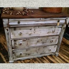 Upcycled antique dresser. Distressed white and stained. $274.99 #cherisheverymoment #upcycling #homedecor