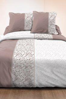 Conjunto de edredão de algodão 57 fios/cm² Bayonne - Toupeira e branco