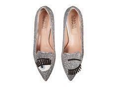 Chiara Ferragni Glitter Flirting Pointed Toe Flat Silver - 6pm.com