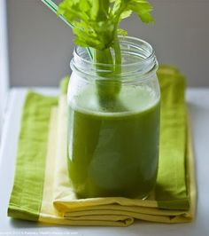 Green Juice: 3 sticks celery**, 1 burpless cucumber (peeled if not organic) 2 stems kale, 1/4 fennel bulb, 1 lemon, peeled, 1 green apple (peeled if not organic) 1/2 slice of ginger, peeled. Run through Nutribullet. Sip slowly. Enjoy this excellent source of easily digestible alkaline minerals, such as potassium which is particularly helpful when cleansing. **Make sure to get your celery organic if nothing else, as conventional celery is renowned for being heavily laden with chemical residues.