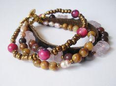 Rose Quartz Jasper Shell Freshwater Pearl Bracelet by LostElephantDesigns