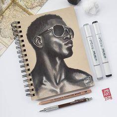 Portrait Drawings by Jordan Rhodes Black Love Art, Black Girl Art, Anime Drawings Sketches, Pencil Art Drawings, African Mythology, Skin Drawing, Arte Sketchbook, Sketch Markers, Inspirational Artwork