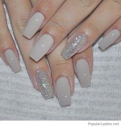 Nice gel nails with glitter on grey