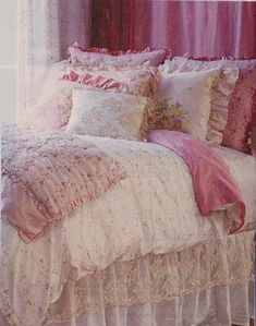 Shabby chic bedroom ~ I love the lace bedskirt!