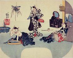 「くつろぐ夏の猫美人たち」(1842年)