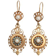 Victorian Gold, Enamel and Pearl Earrings - Tudor Rose Antiques ❤ liked on Polyvore