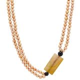 Pearl Lustre Freshwater Pearl & Gemstone Necklace with Sterling Silver Clasp