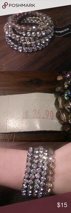 NWT Express 5 piece Bracelet set There are 4 imitation diamond bracelets and one bead bracelet. They are so cute lol. The price tags states that it was originally $26.90! I hope you adore them as much as I do:) Express Jewelry Bracelets