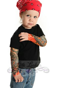 Tattoo Sleeve Biker Black T shirt for Babies and Toddlers.  @Michelle Meyer  Trick or Treat is right around the corner.  This child is such a great model.  Look at the other ones in this shop.  Precious!
