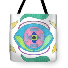 Tote Bag featuring the drawing Eye Of The Cyborg by Sara LaMothe Diaper Bag, Abstract Art, Fashion Accessories, Reusable Tote Bags, Eye, Drawing, Diaper Bags, Sketches, Draw