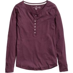 H&M Jersey top with buttons (£7.99) ❤ liked on Polyvore featuring tops, shirts, purple, long sleeve shirts, purple long sleeve shirt, flutter-sleeve top, purple top and long sleeve jersey top