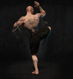 Fighter Muay Boran, Sergey Kudryavtsev/Сергей Кудрявцев on ArtStation Action Pose Reference, Body Reference, Action Poses, Anatomy Reference, Muay Boran, Fitness Workouts, Fitness Tips, Karate, Fighting Poses