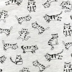Jersey fabric Happy Cats - mocked ecru x 10cm