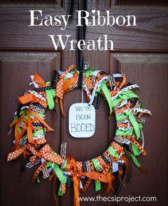 DIY Easy Halloween Boo'ed Wreath