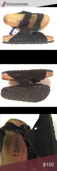Brand new SUEDE Birkenstock. US 8.5-9.5/EU 40. Brand new Birkenstock Arizona. US 8.5-9.5/EU 40. Soft footbed. Narrow width. SUEDE uppers! Birkenstock Shoes Sandals