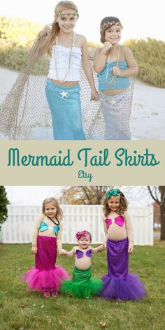 Super cute and sparkly mermaid tail skirts for kids - perfect for Halloween! Comes in multiple colors! #aff