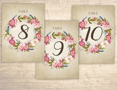Rustic Flowers Printable Table Numbers design No. 210 - personalized table numbers for wedding, bridal shower, baby shower DIY