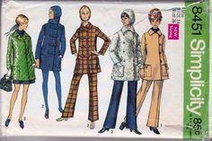 simplicity 8451 vintage patterns 1960's ladies coat cap pants