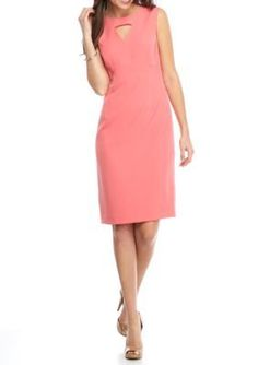 Kasper  Keyhole Neck Sheath Dress