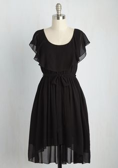 Capelet It Go Dress in Noir - Black, Solid, Daytime Party, A-line, Short Sleeves, Summer, Woven, Better, Mid-length, Variation