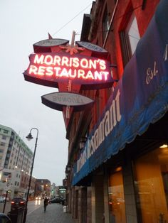 Morrison's Restaurant, Kingston, Ontario Restaurant Signs, Restaurant Recipes, Queen's University, Kingston Ontario, Vintage Neon Signs, Thousand Islands, Morrisons, Cultural Experience, Old Signs