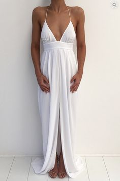 Little Cute   Simple A-line V-neck long prom dress,white evening dress,formal dress   Online Store Powered by Storenvy