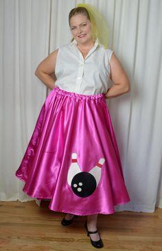 Poodle Skirt Shirt Plus Size Curvy Gals 50s Sock Hop White