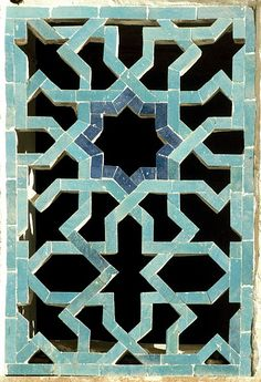 Image TRA 1105 featuring latticework from the Madrassas (various, mainly ruined), in Bukhara, Transoxiana, showing Geometric Pattern using ceramic tiles, mosaic or pottery.