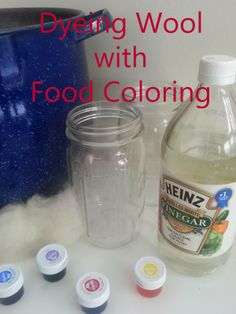 Dye WOOL with FOOD COLOR! Fast, easy, brilliant and colorfast. All you need is food color, white vinegar and hot water. This method uses canning jars so mess is contained and cleanup is a snap!