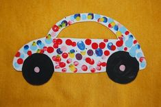Finger print car craft Transportation Preschool Activities, Transportation Activities, Infant Activities, Craft Activities, Toddler Art, Toddler Crafts, Crafts For Kids, Arts And Crafts, Daycare Crafts