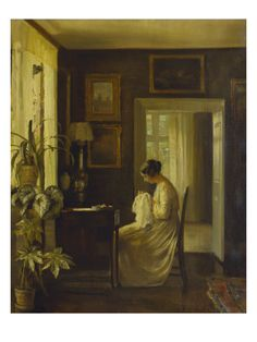 An Interior with a Woman Sewing Giclee Print by Carl Holsoe at Art.com 18x24 $50
