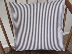 Blue Ticking Pillow Cover Cotton Twill by CabinAndCoast on Etsy