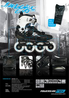 Promo poster for the 2012 Hardcore Evo freestyle inline-skates. You can see the detailed specs and features of the skate here.