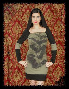 Bats Hoodie Dress Halloween Horror shirt S M L by kittyvampdesigns