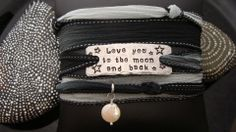 Love You To The Moon And Back Silk Wrap Bracelet