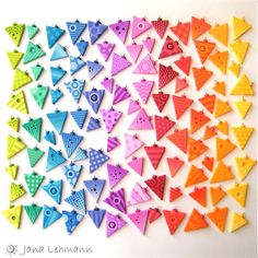 Triangles Rainbow by feeliz, via Flickr - Beautiful example of the many colors using #Pardo Polymer Clay!  You can find this beautiful clay at http://www.polyclayplay.com/Cart/categories/Polymer-Clay/Pardo-Professional-Art-Clay/