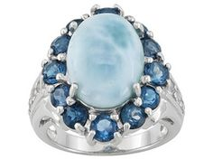 Larimar,London Blue Topaz And White Topaz Sterling Silver Ring Erv $185.00