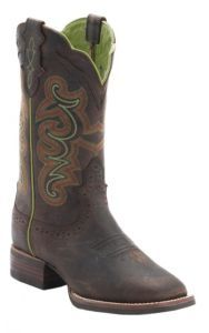 Justin® Ladies Silver Collection Chocolate Buffalo Double Welt Square Toe Western Boots | Cavender's