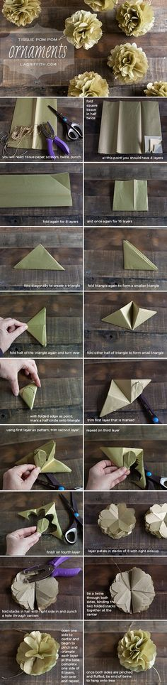 Tutorial: Hanging Mini Tissue Poms...an alternative to the usual accordion fold method.  Love it!  {Lia Griffith}