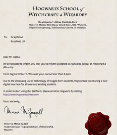 You can generate your own acceptance letter. | Here's What It's Like To Take Classes At Hogwarts