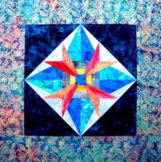 """Rays of Hope"" Free Paper Pieced Quilt Block Pattern designed by and from Carol Doak"