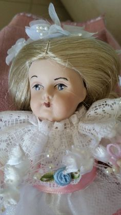 """German Repro 8"""" Porcelain Doll and Paper Dolls Set by Blissfulcollectables on Etsy"""
